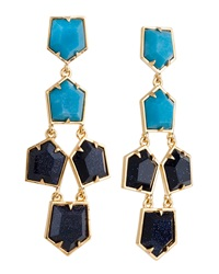 Lele Sadoughi Two Tone Prism Chandelier Earrings Turquoise Dark Blue