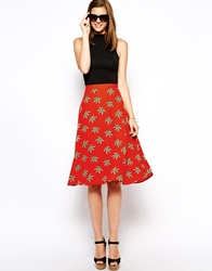 Ax Paris Midi Swing Skirt In Palm Print Red