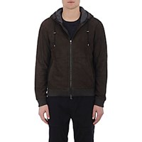 Vince. Men's Suede Hooded Jacket Brown