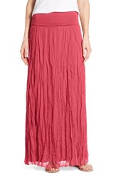 Petite Women's Matty M Crinkle Maxi Skirt Coral