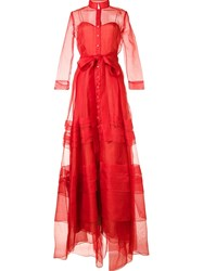 Carolina Herrera Belted Organza Gown Red