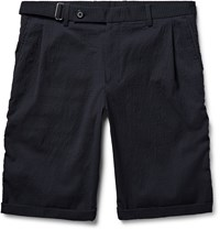 Wooyoungmi Slim Fit Textured Wool Blend Shorts Midnight Blue