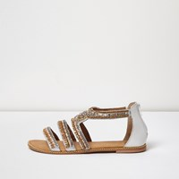 River Island Womens Gold Jewel Embellished Flat Sandal