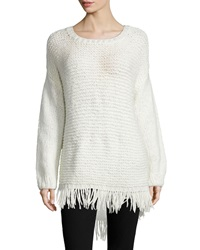 Elizabeth And James Long Sleeve Pullover W Fringe Hem Ivory