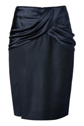 Prabal Gurung Wool Silk Pencil Skirt In Navy Blue