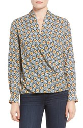 Pleione Women's Faux Wrap Blouse Olive Carpet
