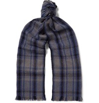 Loro Piana Checked Baby Cashmere Scarf Blue