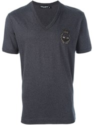 Dolce And Gabbana Embroidered Crown Bee T Shirt Grey