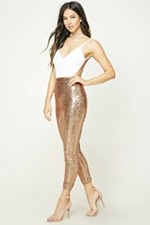 Forever 21 Sequin Velour Cami Jumpsuit Ivory Champagne