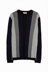 Paul And Joe Striped Cable Knit Jumper Navy