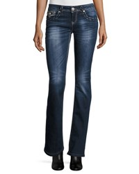 Grace In La Embroidered Boot Cut Jeans Dk Blue
