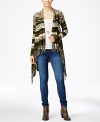 Hooked Up By Iot Juniors' Striped Fringe Waterfall Cardigan True Olive Black Light Linen Combo