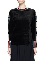 Toga Archives Stripe Jersey Trim Velvet Top Black