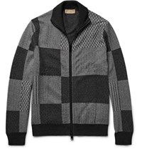 Burberry Jacquard Knit Cahmere And Cotton Blend Zip Up Cardigan Charcoal