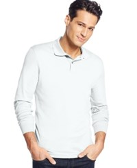 Tasso Elba Signature Interlock Long Sleeve Polo White Pure