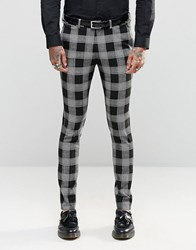 Asos Super Skinny Suit Trousers In Tartan Check Black