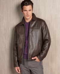 Perry Ellis Portfolio Big And Tall Smooth Leather Jacket