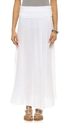 Three Dots Double Gauze Maxi Skirt With Slit White