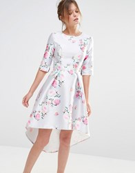 Chi Chi London Midi Dress With 3 4 Sleeve Gray Floral Print
