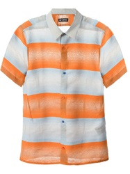 Raf Simons Striped Short Sleeve Shirt Yellow And Orange