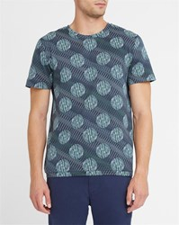 A.P.C. Blue Wimbledon All Over Print Round Neck T Shirt