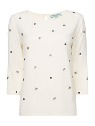 Dickins And Jones Woven Embellished Top Ivory
