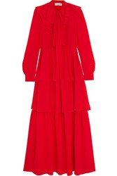 Sonia Rykiel Tiered Ruffled Silk Crepe De Chine Maxi Dress