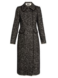 Dolce And Gabbana Double Breasted Boucle Tweed Coat Black White