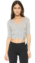 Free People Movement Giselle Wrap Top Stripe Grey