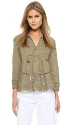 Sea Embroidered Peasant Top Army