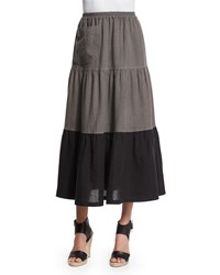 Eskandar Colorblock Tiered Linen Petticoat Skirt Black Elephant Women's