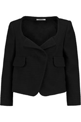 Carven Cropped Stretch Cotton Blend Boucle Tweed Jacket Black