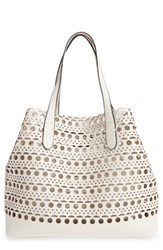 Street Level Perforated Faux Leather Tote With Pouch Ivory