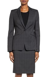 Boss Women's Jabina2 Plaid One Button Stretch Wool Suit Jacket