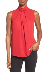 Ellen Tracy Women's Stand Collar Pleat Front Shell Rouge