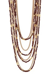 14Th And Union Multi Strand Bead Necklace Brown