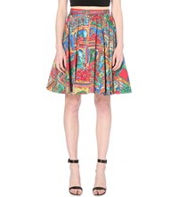 Alice Olivia Earla Stretch Cotton A Line Skirt Havana Town