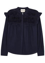 Sea Blue Crochet And Cotton Blouse Navy