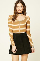 Forever 21 Striped Zip Up Crop Top