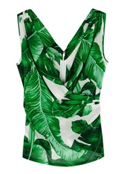 Dolce And Gabbana Palm Tree Print Wrap Effect Chiffon Top Green