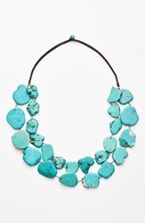 Panacea Chunky Double Row Howlite Necklace Turquoise
