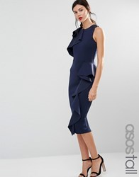 Asos Tall Ruffle Neck And Peplum Midi Scuba Dress Navy