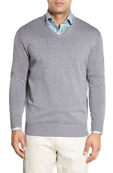 Peter Millar Men's Silk Blend V Neck Sweater Flannel