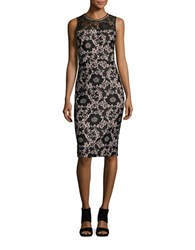 Jessica Simpson Embellished Lace Sheath Dress Black Pink