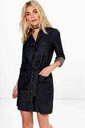 Boohoo Tie Waist Patch Pocket Denim Dress Black