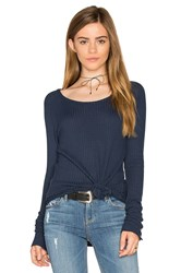 Chaser Thermal Open Neck Raglan Tee Blue