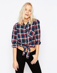 Noisy May Erik Tie Front Check Shirt Jester Red