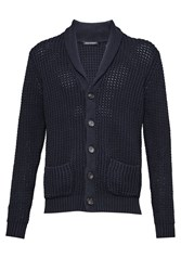French Connection Men's Waffle Stitch Knits Cardigan Blue
