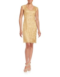 Sue Wong Embroidered Sheath Dress Gold