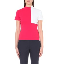 Jacquemus Le Col Carre Cotton Jersey Top Red White